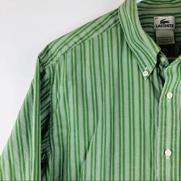 00aef3884f Lacoste Men's Green Striped Button Down Shirt 42